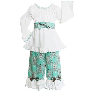 AnnLoren Girls' Blue Dutch Lattice 2-piece Tunic/ Pant Set
