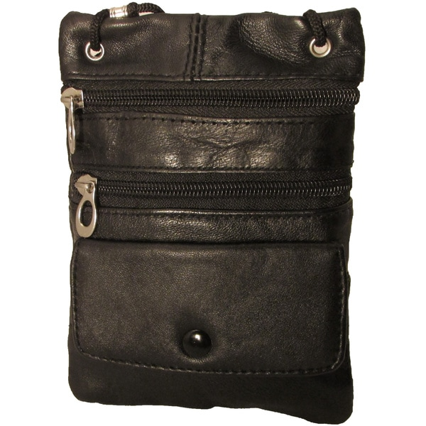 Continental Leather Travelers Side Pouch & Passport Holder