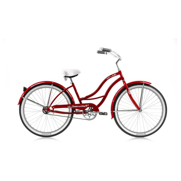 Micargi Tahiti 26-inch Red with Red Rims Beach Cruiser