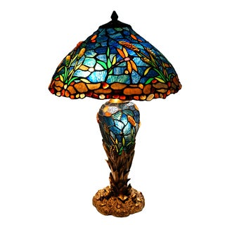 Stained Glass Cattails and Dragonfly Double Lit Table Lamp