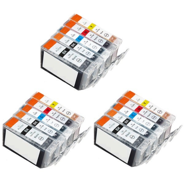 15 Pack Canon PGI-5 CLI-8 Ink Cartridge (3 thick black, 3 Black, 3 Cyan, 3 Magenta, 3 Yellow)