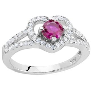 Sterling Silver Garnet Quartz Cubic Zirconia Heart Ring