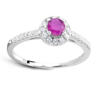 Sterling Silver Genuine Round Ruby and Cubic Zirconia Ring