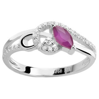 Sterling Silver Genuine Marquise Ruby and Cubic Zirconia Ring