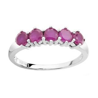 Sterling Silver Genuine Round Ruby Ring
