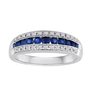 Platinaire 1/8ct TDW Diamond Sapphire Wedding Band (I-J, I1-I2)