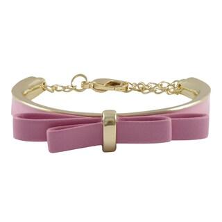 Gold Finish and Enamel Faux Leather Bow Girls Bangle Bracelet