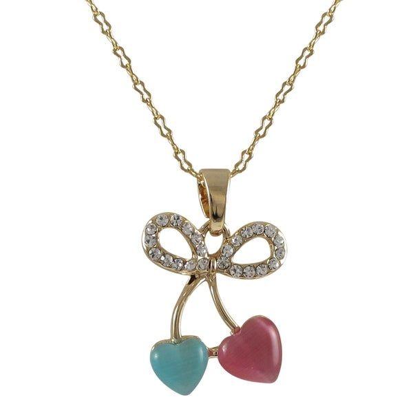 Gold Finish Crystals Bow Hearts Girls Pendant Necklace