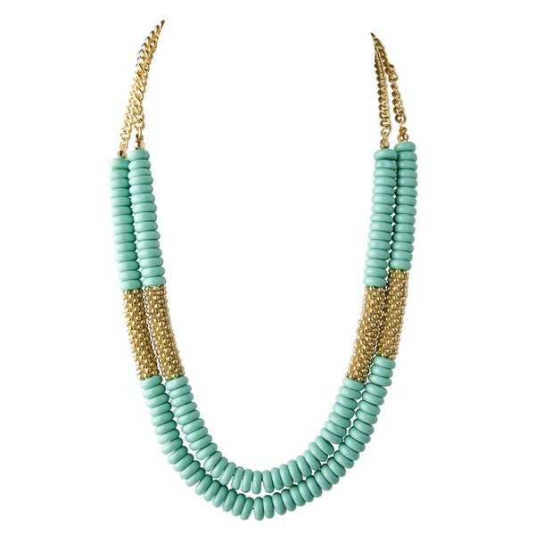 Acrylic Turquoise bead and goldtone Layered Necklace