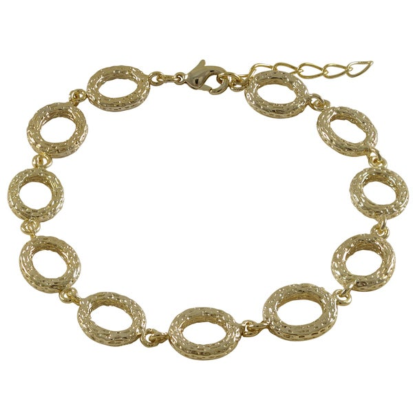 Gold Finish Textured Ovals Link Bracelet