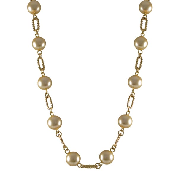 Gold Finish Champagne Faux Pearl Link Necklace