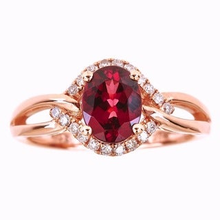 Anika and August 14k Rose Gold Oval-cut Rodholite and Diamond Accent Ring