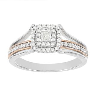 H Star 10k White and Rose Gold 3/8ct Diamond Engagement Ring (H-I, I2-I3)