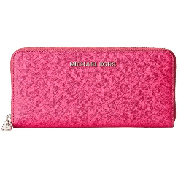 MICHAEL Michael Kors Jet Set Leather Continental Travel Wallet Raspberry