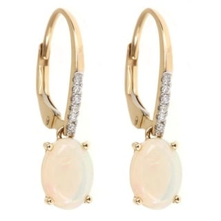 Anika and August 14k Gold Oval-cut Australian Opal and Diamond Accent Earrings