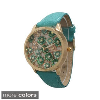 Olivia Pratt Metal Floral Faux Leather Watch
