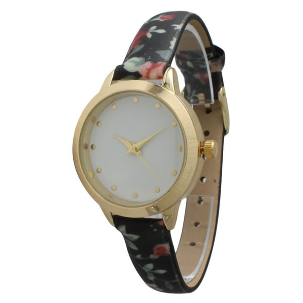 Olivia Pratt Petite Floral Faux Leather Watch