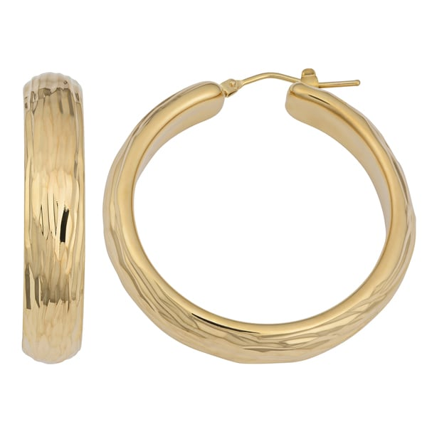 Oro Forte 14k Yellow Gold High Polish Fancy Surface Hoop Earrings