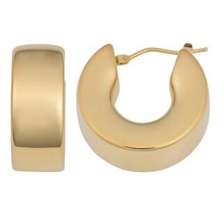 Oro Forte 14k Yellow Gold Bold High Polish Hoop Earrings