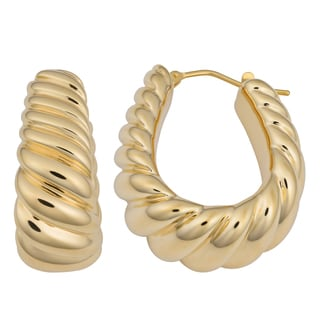 Oro Forte 14k Yellow Gold High Polish Twist Designed Surface Hoop Earrings