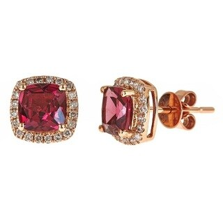 Anika and August 14k Rose Gold 1/5ct TDW Diamond and Cushion-cut Rodholite Earrings (G-H, I1-I2)