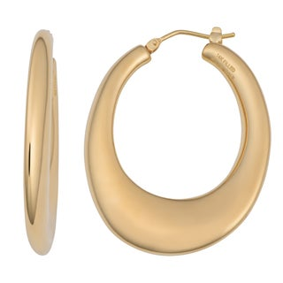 Oro Forte 14k Yellow Gold Polished Oval Hoop Earrings
