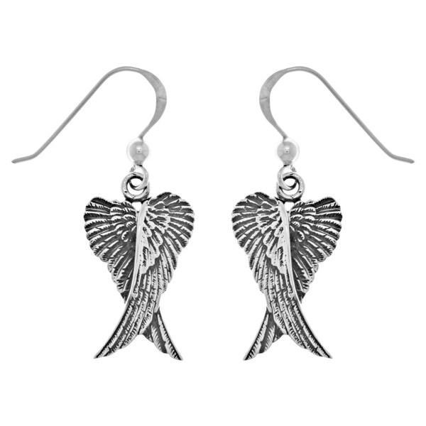 CGC Sterling Silver Guardian Angel Wings Dangle Earrings