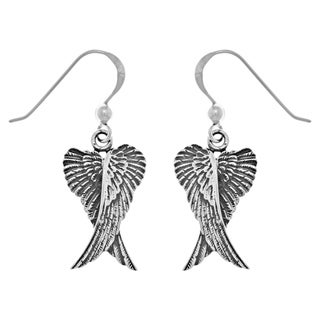 Carolina Glamour Collection Sterling Silver Guardian Angel Wings Dangle Earrings