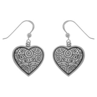 CGC Sterling Silver Celtic Spiral Heart Dangle Earrings