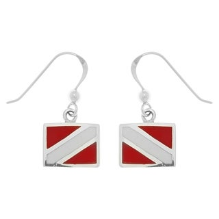Carolina Glamour Collection Sterling Silver Scuba Diver Down Flag Red Enameled Dangle Earrings