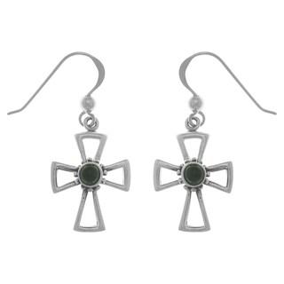 CGC Sterling Silver Gemstone Celtic Cross Dangle Earrings