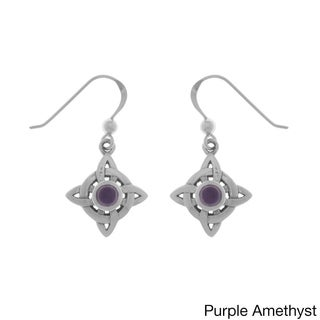 Carolina Glamour Collection Sterling Silver Gemstone Celtic Quaternary Luck Knot Dangle Earrings