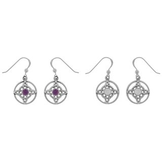 CGC Sterling Silver Gemstone Celtic Quaternary Knot Dangle Earrings