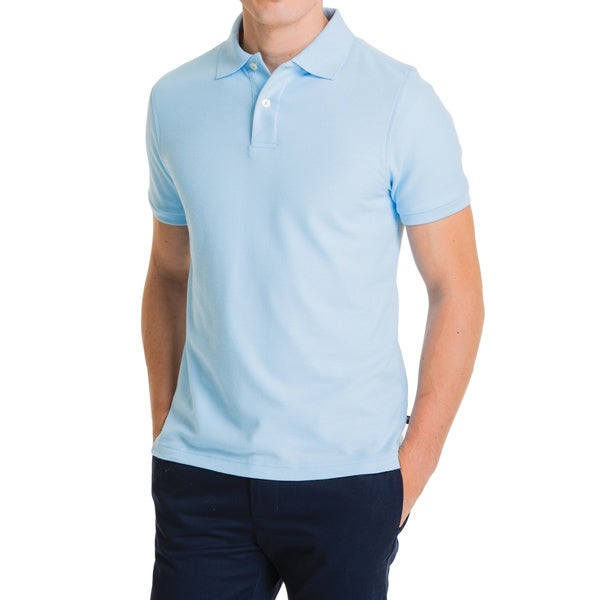 Lee Young Men's Blue Short Sleeve Pique Polo