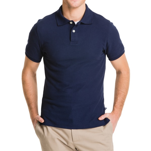 Lee Young Men's Navy Short Sleeve Pique Polo