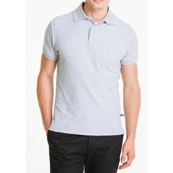 Lee Young Men's Heather Grey Short Sleeve Pique Polo