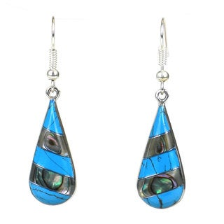 Global Crafts Turquoise and Abalone Stripes Alpaca Silver Earrings (Mexico)