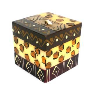 Hand-Painted Cube Candle - Uzima Design - Nobunto Candles (South Africa)