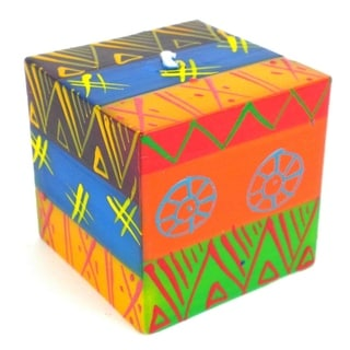 Hand-Painted Cube Candle - Shahida Design - Nobunto Candles (South Africa)