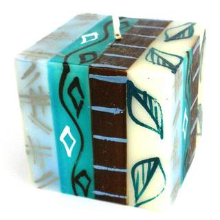 Hand-Painted Cube Candle - Maji Design - Nobunto Candles (South Africa)