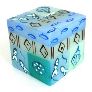 Hand-Painted Cube Candle - Samaki Design - Nobunto Candles (South Africa)