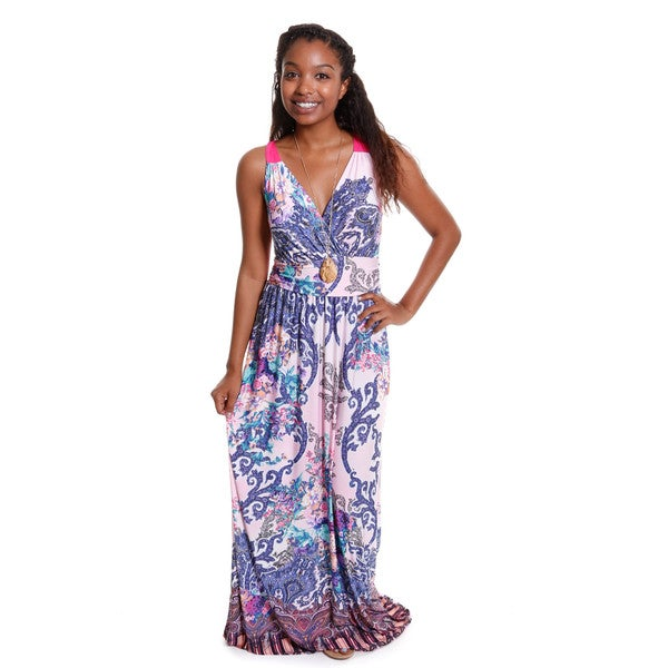 Hadari Women's Floral Print Surpliced Maxi Dress