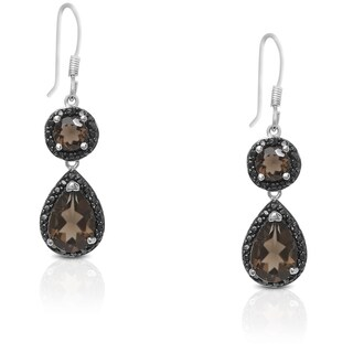 Dolce Giavonna Sterling Silver Smokey Quartz and Diamond Accent Dangling Earrings