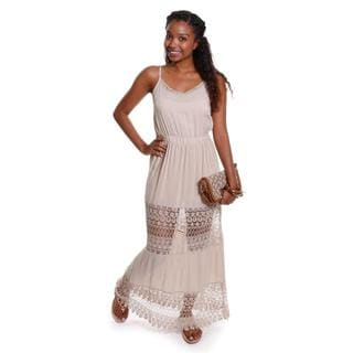 Hadari Women's Contemporary Sleeveless Lace Tiered Maxi Dress