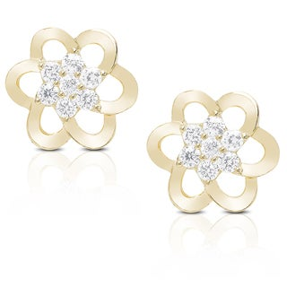 Dolce Giavonna Sterling Silver or Gold Over Silver Cubic Zirconia Flower Stud Earrings