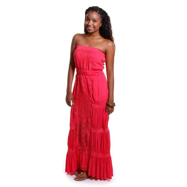 Hadari Women's Strapless Lace Tiered Maxi Dress