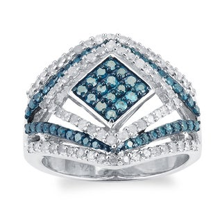Sterling Silver 1 1/4ct TDW Blue and White Diamond Square Double Frame Ring (H-I, I2-I3)