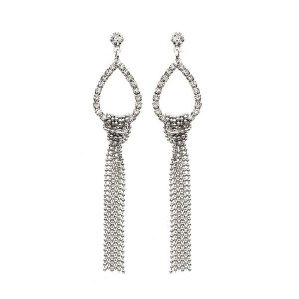 Facet Nation - Teardrop Fringe Crystal Earrings