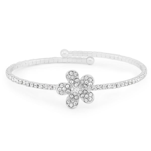 Facet Nation - Silver Plated Crystal Flower Flex Bangle