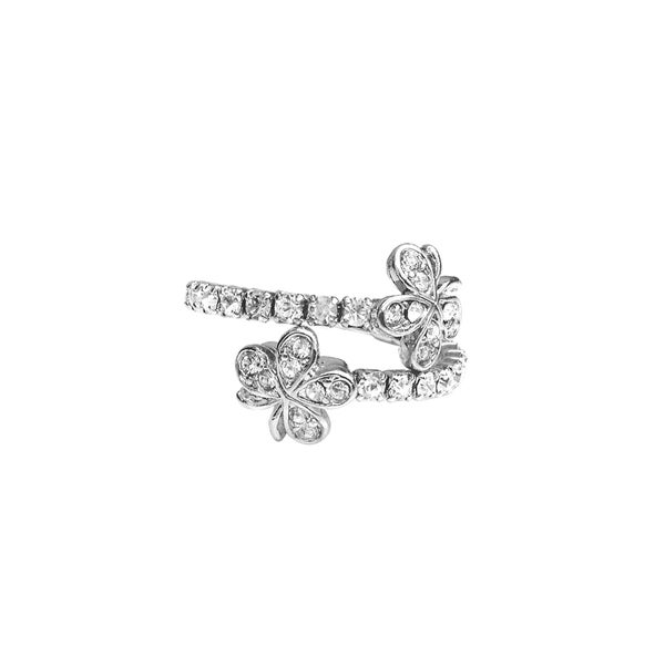 Facet Nation - Silver Plated Crystal Double Flower Coil Ring